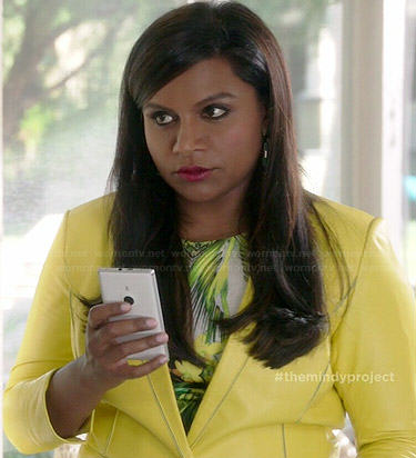 Mindy's yellow leather blazer on The Mindy Project