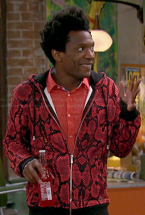 Motif's red snake print hoodie on Mulaney