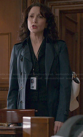 Nadine's navy blue pleated trench coat on Madam Secretary