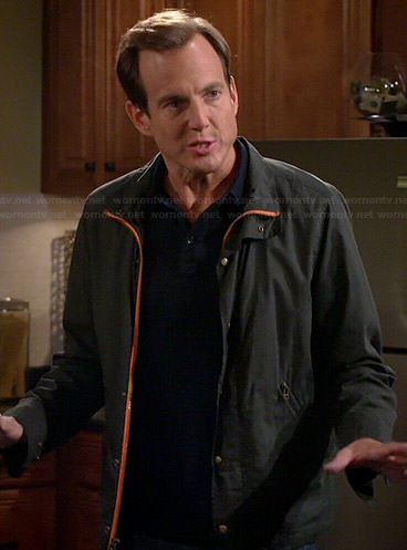 Nathan's grey jacket with orange trim on The Millers