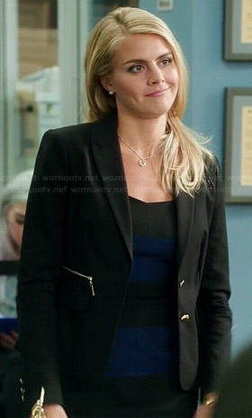 88795cf1a8271 WornOnTV: Nina's navy blue and black striped dress and zip pocket blazer on  Benched | Eliza Coupe | Clothes and Wardrobe from TV
