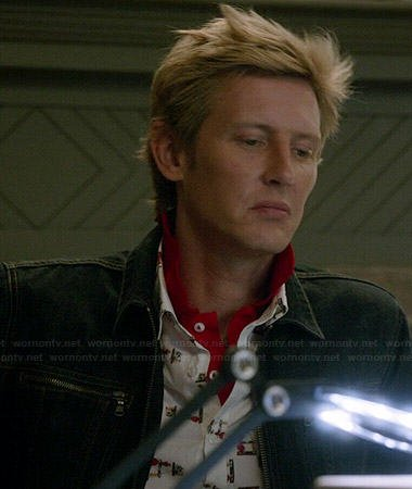 Nolan's white and red printed shirt and zip pocket denim jacket on Revenge