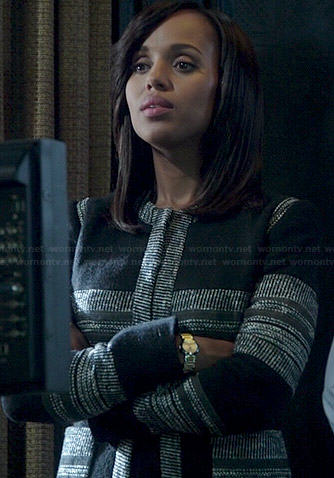 Olivia's black and grey tweed striped jacket on Scandal
