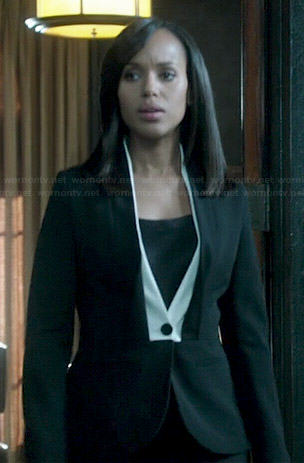 Olivia's black blazer with white trim on Scandal