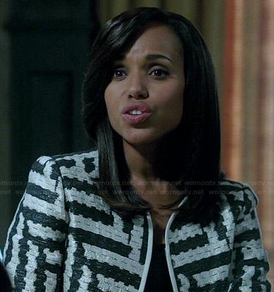 Olivia's black and white geometric patterned jacket on Scandal