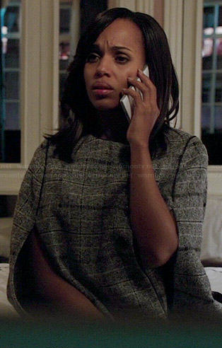 Olivia's grey plaid cape on Scandal