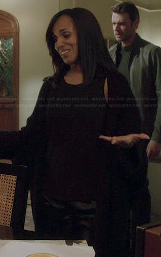 Olivia's long black ribbed cardigan on Scandal