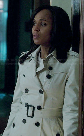 Olivia's off-white trench coat on Scandal