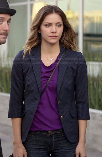 Paige's pinstriped blazer and purple top on Scorpion