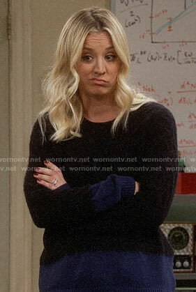 Penny's black and blue colorblock sweater on The Big Bang Theory