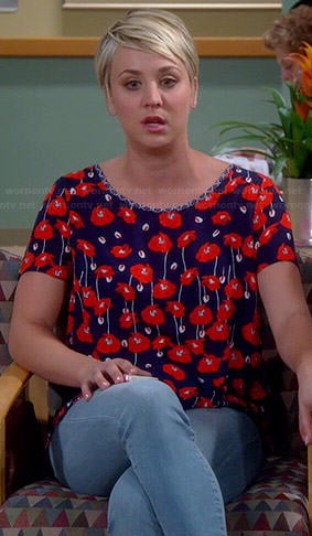Penny's blue and red poppy print top on The Big Bang Theory