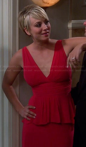 Penny's red peplum prom dress on The Big Bang Theory