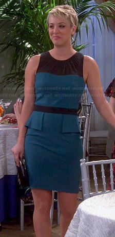 Penny's teal peplum dress on The Big Bang Theory