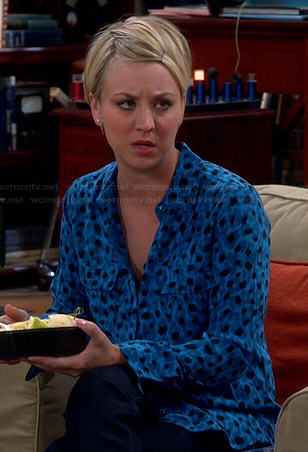 Penny's turquoise blue leopard print blouse on The Big Bang Theory