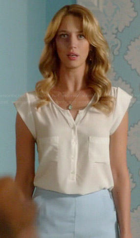 Petra's white cap sleeve button front top on Jane the Virgin