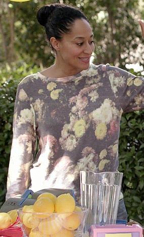 Rainbow's floral sweatshirt on Black-ish