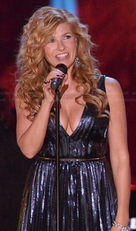 Rayna's blue metallic pleated dress on Dancing with the Stars on Nashville