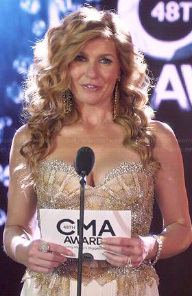 Rayna's strapless CMAs gown on Nashville