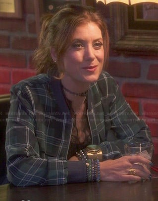Rebecca's green plaid bomber jacket on Bad Judge