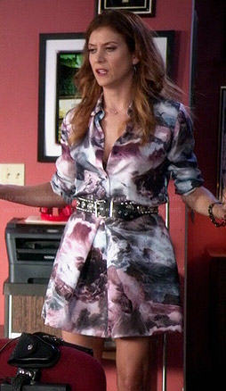 Rebecca's ocean scene print shirtdress on Bad Judge
