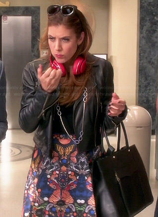 Rebecca's printed a-line skirt and leather jacket on Bad Judge
