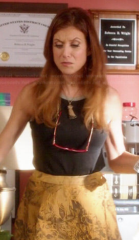 Rebecca's gold jacquard skirt and black metallic trimmed tank top on Bad Judge