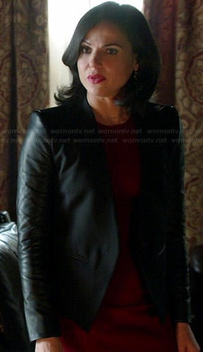 Regina's black leather sleeved blazer on Once Upon a Time