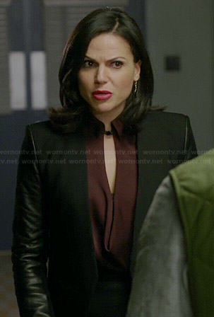 Regina's burgundy cowl neck keyhole blouse and leather sleeved jacket on Once Upon a Time