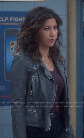 Rosa's black leather moto jacket on Brooklyn Nine-Nine