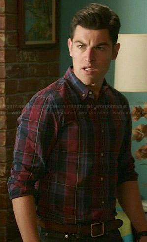 Schmidt's burgundy plaid shirt on New Girl