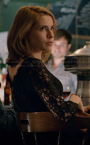 Stevie's black lace dress on Madam Secretary