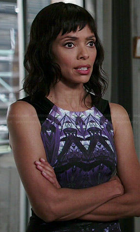 Camille's grey ombre graphic printed dress on Bones