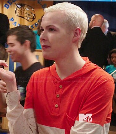 Tristan's orange and beige colorblock hooded henley tee on Degrassi