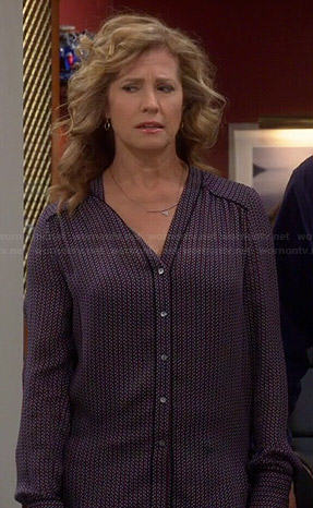 Vanessa's geometric printed v-neck blouse on Last Man Standing