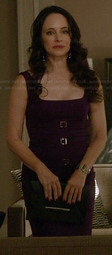 Victoria's purple buckled front dress on Revenge