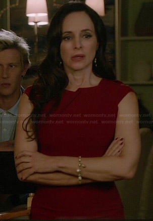 Victoria's red folded detail dress on Revenge