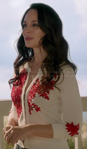 Victoria's white and red embroidered cardigan on Revenge