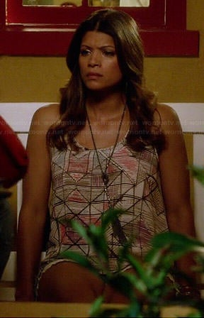 Xiomara's geometric patterned tank top on Jane the Virgin