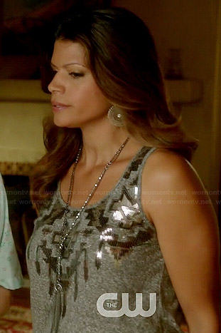 Xiomara's grey sequinned tank top on Jane the Virgin