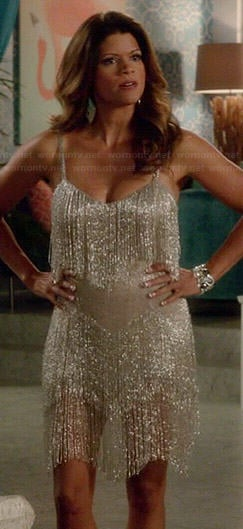 Xiomara's silver fringed dress on Jane the Virgin