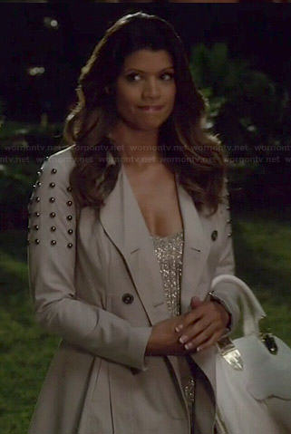 Xiomara's studded trench coat on Jane the Virgin