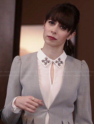 Zelda's white embellished collar top and grey peplum jacket on A to Z