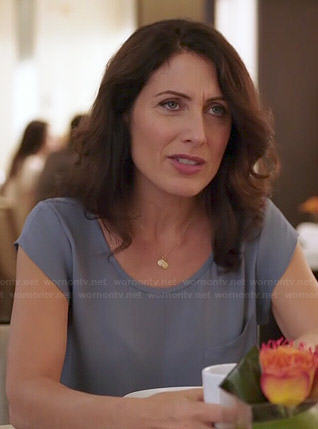Abby's blue short sleeve top on Girlfriends Guide to Divorce