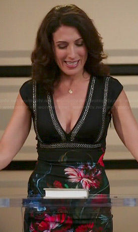 Abby's floral chain trim dress on Girlfriends Guide to Divorce