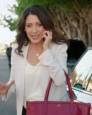 Abby's white blazer and red bag on Girlfriends Guide to Divorce
