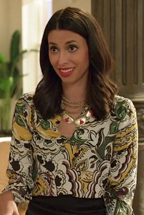 Amy's yellow and green paisley printed blouse on Manhattan Love Story
