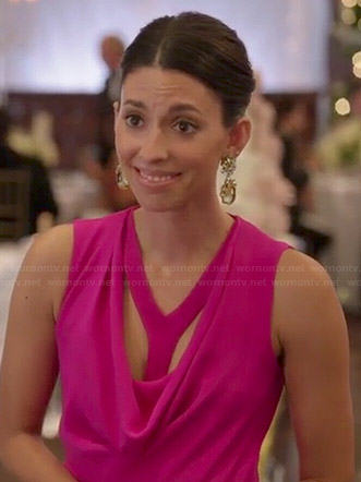 Amy's pink cowl neck gown on Manhattan Love Story