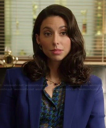 Amy's sheer blue houndstooth blouse on Manhattan Love Story