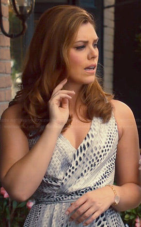 AnnaBeth's black and white spot printed wrap dress on Hart of Dixie