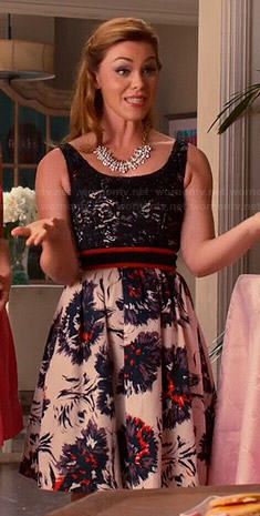 AnnaBeth's lace top and floral skirted dress on Hart of Dixie